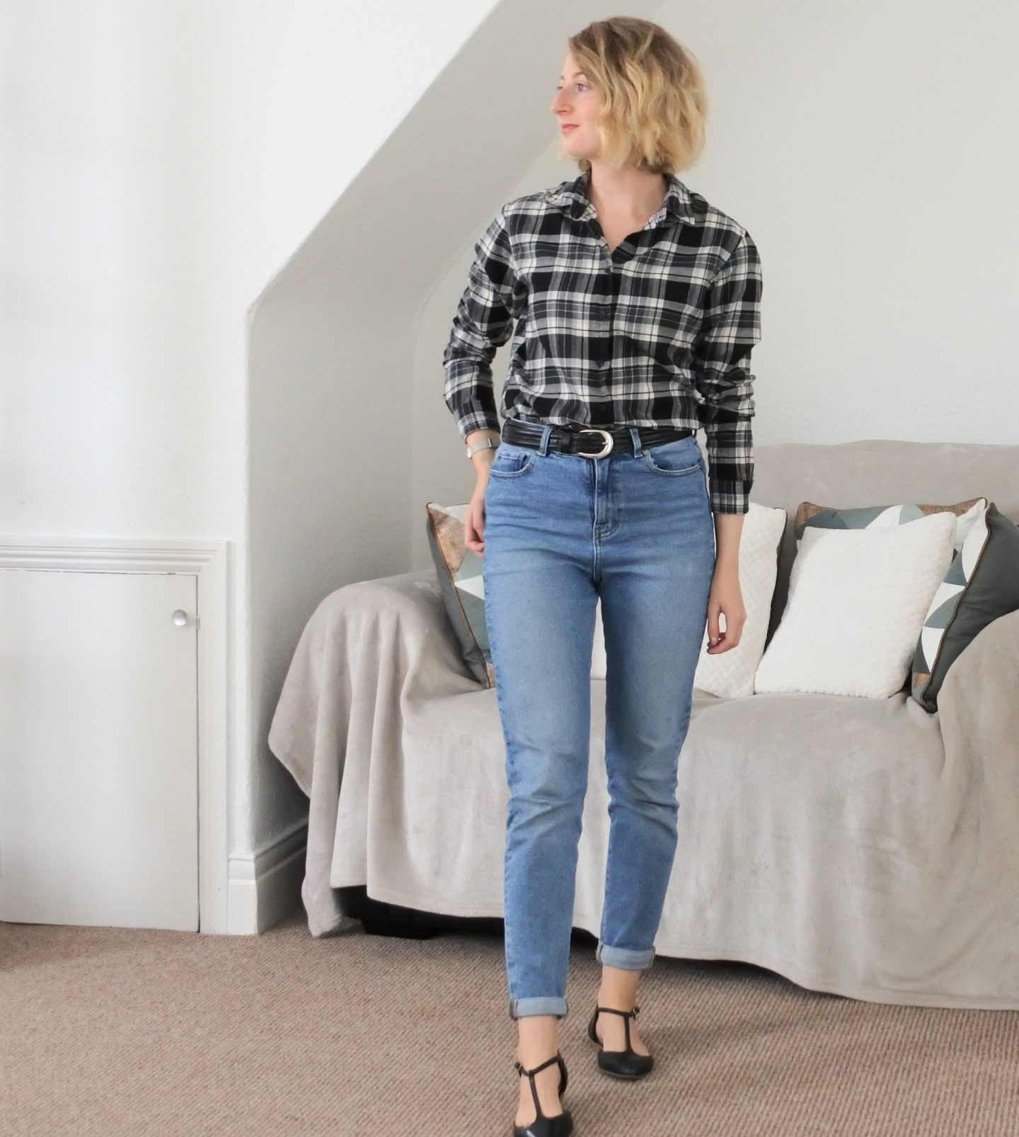 styling mom jeans look 2 check shirt and flats