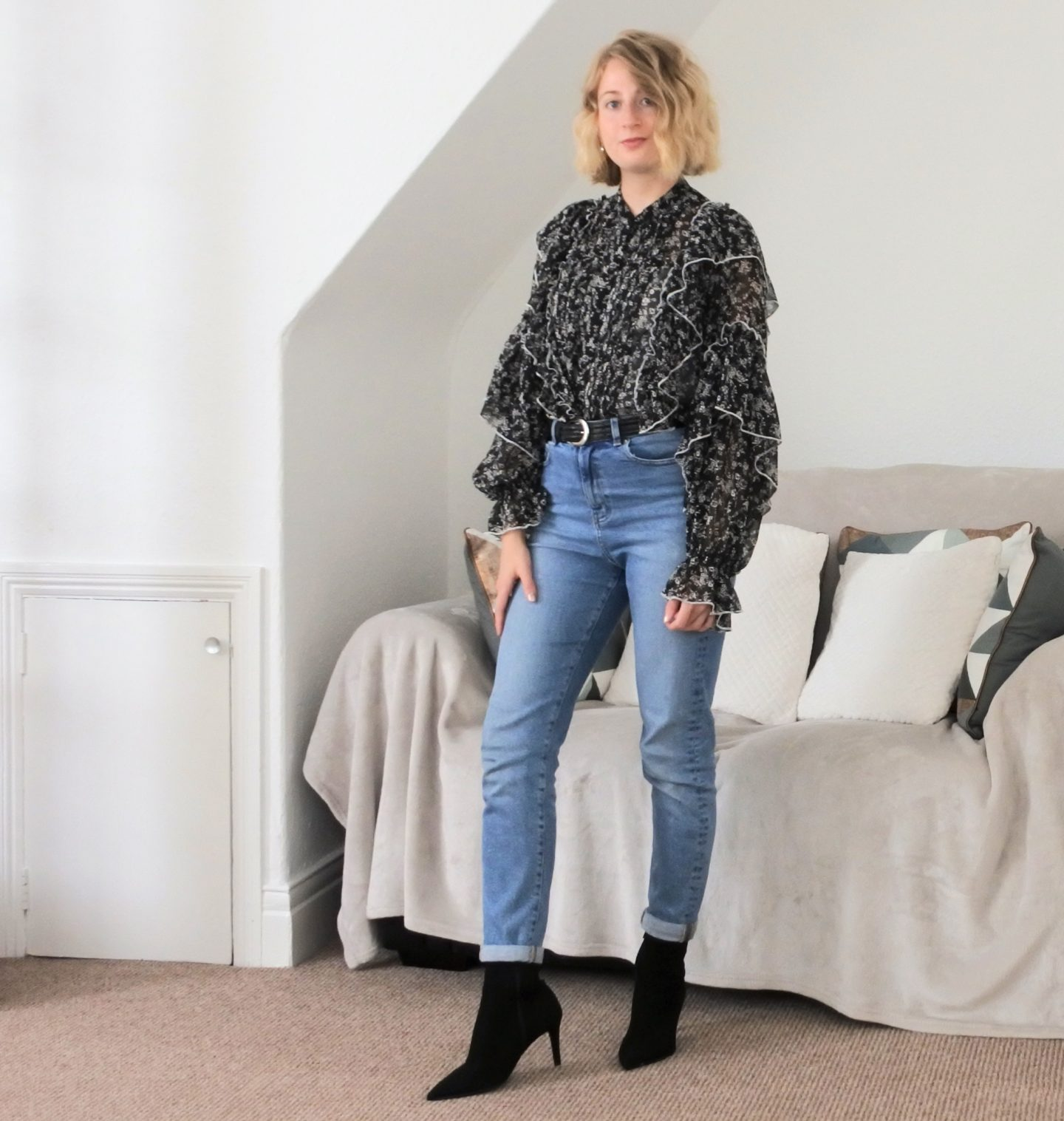 styling mom jeans look 3 blouse and boots