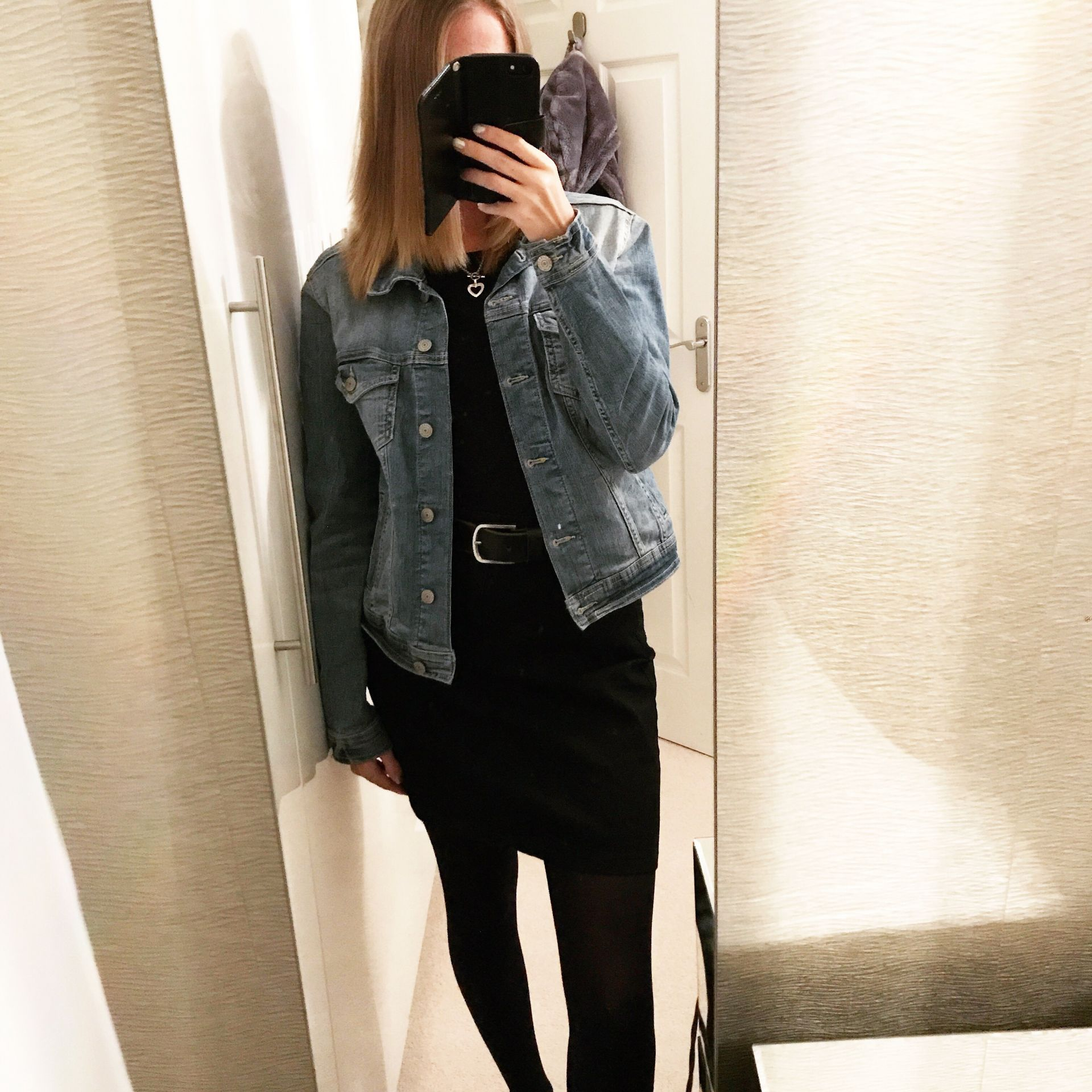 denim jacket and denim skirt outfit - Only Shelley