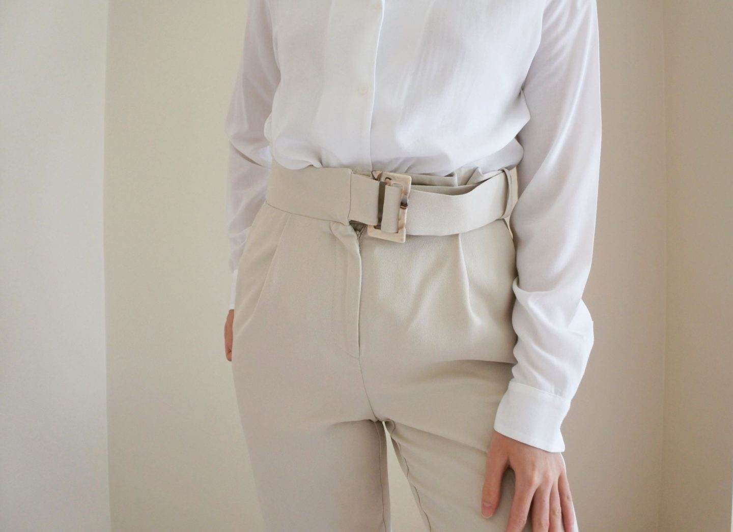 Stone Trousers and a White Blouse
